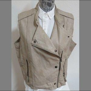 XL Moto Zip Up Women Faux Leather #59Y Vest